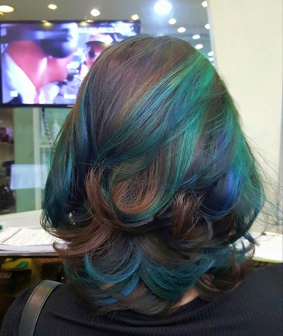 Blue blend with hint of purple underneath layer of dark brown